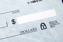 Close up of the dollar amount box on a cheque